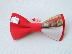 Купить Бабочка галстук с чемоданами, хлопок - ярко-красный, рисунок, бабочка…