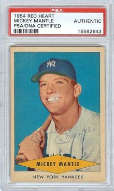 Mickey Mantle Autographed 1954 Red Heart Card PSA/DNA Slabbed #15562643 . $699.00. This is a 1954 Red Heart card that has been hand signed by Mickey Mantle. It has been authenticated and slabbed by PSA/DNA.