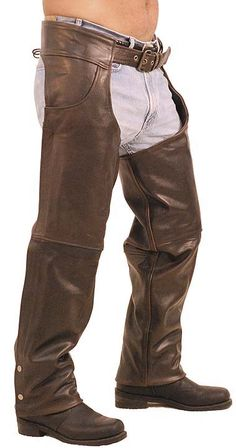 Premium Naked Leather Chaps With Zip Out Quilted Linings