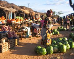 Another marketplace in Zambia. Some markets are for souvenirs and things like that, while others, such as this one, are for selling food. Local farmers sell fresh food in these markets to locals. Most of the food is grown in back yard gardens because the people cannot afford large amounts of land.
