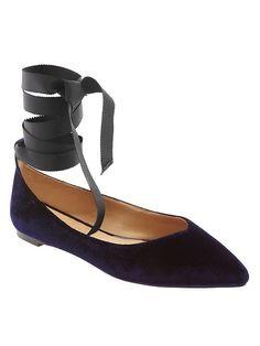 Aurora ankle strap flats in blue velvet size 7 from Banana Republic