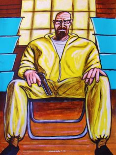 "BREAKING BAD PRINT POSTER man cave tv show walter white heisenberg series dvd brian cranston blu-ray disc series. CHOOSE PRINT SIZES 9x12"" ($70) or 18x24"" ($130)-This quality giclee print is part of my extensive portfolio. I am the artist John Froehlich, aka FRO-ART-This is a ""READY TO FRAME"" REPRODUCTION PRINT on quality gloss archival paper.-PRINT will be professionally packed and shipped in a sturdy mailing tube, via USPS Priority Mail.-My vibrant colored artwork will become a focal…"