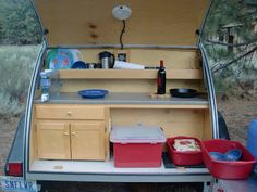 Tiny Yellow Teardrop: What do you carry in your teardrop? (The blogger lists what she and her husband pack in their teardrop trailer.)