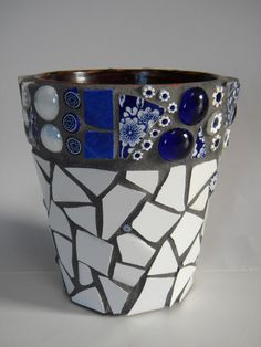 Cobalt and White Mosaic Flower Pot or Caddy on Etsy, $20.00