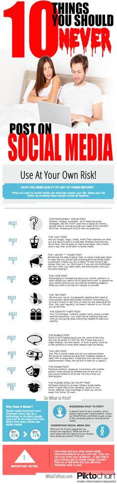Check out the list of 10 things you should never post on #socialmedia.  Проверьте список из 10 вещей, которые вы никогда не следует пост на социальные медиа