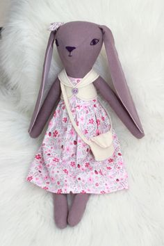 Bunny doll, heirloom doll, floppy eared bunny, ragdoll - Lady Plum by HoppDolls on Etsy