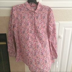Rose Multi Blouse Blouse with a beautiful print. Never worn. The buttons go half way down the front. Liz Claiborne Tops Button Down Shirts