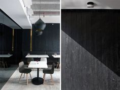 They used a burning method to get the matte black color, but keep the warm qualities of the wood.