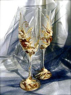 For your Little Mermaid - Under the Sea Wedding Theme - Wonderful Wedding champagne glasses elegant by PureBeautyArt, - On Etsy