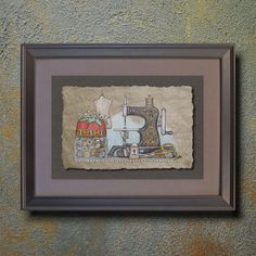 Nostalgic Hand Sewing Machine Art Whimsical yesteryear print