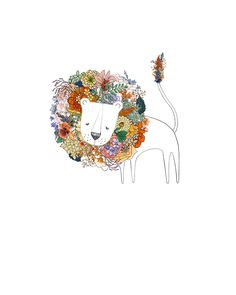 I like this as inspiration for a killer lion tattoo for a woman. Not cartoony but a realistic lion with flowers for the mane. Art And Illustration, Illustrations, Art Design, Fine Art Paper, Art Photography, Street Art, Artsy, Sketches, Watercolor