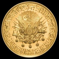 A late-Ottoman gold medal, featuring the Ottoman state coat of Constellations, Ottoman Turks, Gold Money, Gold And Silver Coins, Turkish Art, Gold Bullion, Ottoman Empire, Rare Coins, Islamic Calligraphy