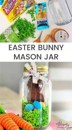 Want fun and cute Mason jar gifts for Easter? Mason jar gift ideas dont get much cuter or easier than this Easter Bunny Jar! Kids grandkids friends and family will all love receiving this yummy chocolate bunny in a jar. Diy Gifts For Him, Diy Gifts For Friends, Diy Gifts For Boyfriend, Mason Jar Gifts, Mason Jar Diy, Mason Jar Breakfast, Easter Crafts, Jar Crafts, Easter Ideas