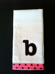 Hand Monogrammed Burpcloths. $13.00, via Etsy.