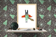 Original art for a baby, toddler or kid's room. Little heroes unite! That's our cry. When wearing a cape, one must simply fly. PAPER PRINTS: ♥ Available as an or print. ♥ Printed on a very high quality 200 gms paper with archival inks. Fly Paper, A5, Monkey, Kids Room, Original Art, Bunny, Printed, Sleeve, Board