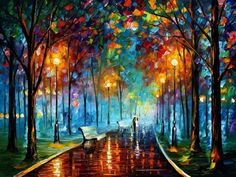 Landscape Wall Art Oil Painting On Canvas By Leonid Afremov - Misty Mood 2 Simple Oil Painting, Oil Painting On Canvas, Painting Clouds, Canvas Art, Painting Trees, Painting Flowers, Easy Landscape Paintings, Landscapes, Belle Photo