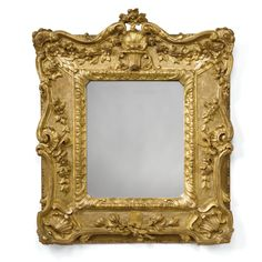 A Louis XV style carved giltwood frames, now fitted as  a mirror, late 19th century.