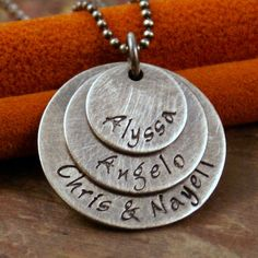 Hand Stamped Mommy Necklace - Sterling Silver Family Necklace - 3 Layers of Love 'Antique'
