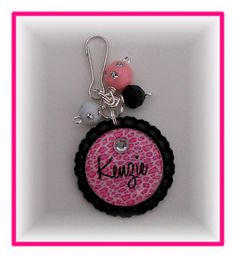 bottle cap charms beads keychains | Pink Cheetah Print Custom/Personalized Name Charm/Keychain/Zipper Pull