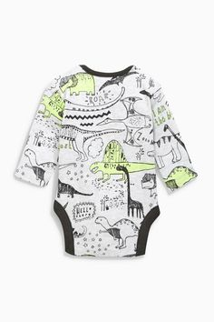 Buy Grey Fluro Dinosaur Long Sleeve Bodysuits Three Pack from the Next UK online shop Baby Boy Outfits, Kids Outfits, Kids Denim Jacket, Cute Little Boys, Party Shirts, Long Sleeve Bodysuit, Boys Shirts, Baby Wearing, Baby Bodysuit