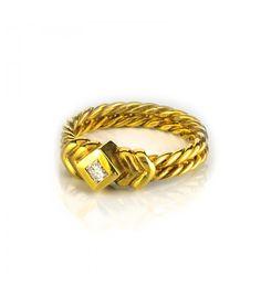 Solitario Oro Amarillo 18kt Trenzado y Diamante Princesa 0,15ct - Subastas Regent's   Joyas y Antigüedades