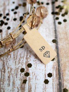 Custom initials diamond brown kraft sticker by ctdscraftsupply