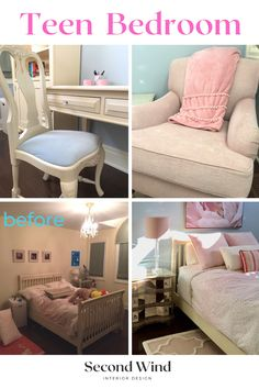 We gave this young lady a sophisticated yet sweet space with some upcycled furniture, mom's mirrored bedside table, and a new desk & bookcases to help her stay organized.  Muted shades of blush, cream and sky blue pull it all together. Teen Bedroom, Bedrooms, Mirror Bedside Table, Kitchen And Bath Design, Staying Organized, Design Consultant, Upcycled Furniture, Up Styles, Bookcases