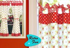 Cute Retro Curtains with Gingham Bows
