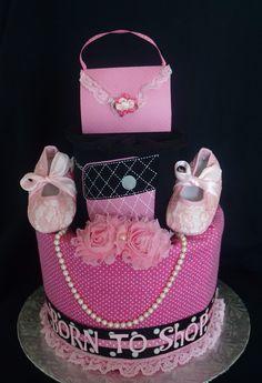 Born To Shop Diaper Cake www.facebook.com/DiaperCakesbyDiana Pink Diaper Cakes, Princess Diaper Cakes, Unique Diaper Cakes, Nappy Cakes, Baby Shower Items, Baby Shower Diapers, Baby Shower Cakes, Baby Shower Parties, Baby Shower Gifts