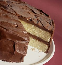 White cake with chocolate frosting