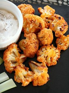 Cauliflower Buffalo Bites - A healthy option to satisfy that Buffalo wing craving. Ready in less than 30 minutes!