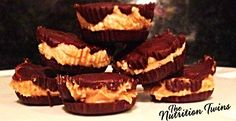Homemade Peanut Butter Cups | Only 46 Calories vs. 105 in the Real Deal | Creamy, Rich, Delish & Waistline friendly ;) | For MORE RECIPES, fitness & nutrition tips please SIGN UP for our FREE NEWSLETTER www.NutritionTwins.com