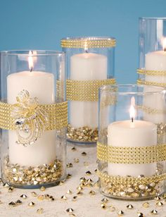 Gold Bling Wrapped Vases | Find gold decorations at @joannstores | Gold New Year's Eve Party Ideas