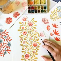 For fun, I played with the circle flowers I'd painted. I like some of these, too. Hmm... #watercolor #flowers #pinkflowers #floral #illustratorinminneapolis #makeartthatsells #pattern #creativeprocess #workinprogress #makingitupasigo