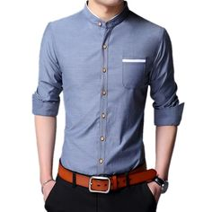 059cc607f5775e 2017 Spring and Summer New Casual Men s Long-Sleeved Single-breasted  Chinese Stand Collar Solid Color Wild Slim Thin Men s Shirt