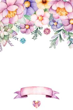 Beautiful watercolor card for text for example with. Flower Background Wallpaper, Flower Backgrounds, Backgrounds Free, Watercolor Cards, Watercolor Flowers, Flower Frame, Flower Art, Floral Vintage, Baby Album