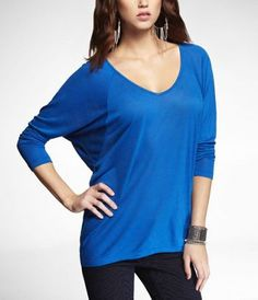 LONG SLEEVE DOUBLE V-NECK WEDGE TEE at Express, I have this shirt in two colors and its my favorite shirt!
