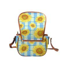 Yellow and Blue Flowers Womens Saddle Shoulder Bag Crossbody Sling Bag Travel Shopping Satchel InterestPrint Butterflies