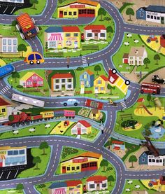 Giant Kids City Playmat Fun Town Cars Play Village Farm
