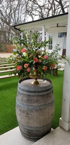 Vibrant and colorful urn style arrangment for wine barrel at the rosemary barn b. Vibrant and colo