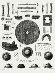 Fra Conrad Engelhardts publikation i 1863 af Thorsbjerg mosefund med J. Magnus Petersens tegninger.