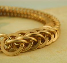 Silver or Golden Wheat Bracelet Kit or Ready Made Chainmaille