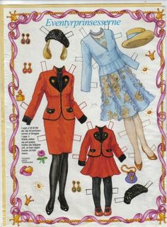 Danish Eventyrprinsesserne paper dolls* For lots of free Christmas paper dolls International Paper Doll Society #ArielleGabriel artist #ArtrA thanks to Pinterest paper doll & holiday collectors for sharing *
