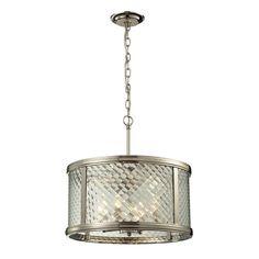 Chandler Polished Nickel Four Light Pendant Elk Lighting Drum Pendant Lighting Ceiling Lig