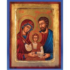 Hand-made traditional Holy Family Icon