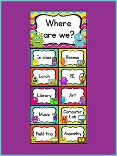 "~Monster Theme ""Where Are We?"" Clip Chart~This adorable ""Where Are We?"" clip chart will go great with any monster theme classroom décor! Attach this handy chart to your door to let others know where you are when you are out of the classroom. 10 different place cards included-choose as many or as few as you need for your classroom. Also included are blank/editable cards, so you can add your own places! $"