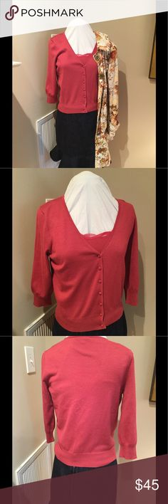 Ann Taylor silk blend Cardigan set Beautiful Cardigan set includes matching lace trim cami. Soft and a beautiful warm salmon color. Looks perfect with several of my items in my closet up for sale! Make your outfits! Size medium and in excellent condition. Smoke free closet Ann Taylor Sweaters Cardigans