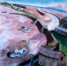 Francis FARMAR-Porlock Weir, Somerset -Low Tide - Paintings of seaside towns www.redraggallery.co.uk