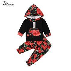 Newest Fashion Newborn Toddler Baby Girls Flower Hooded Sweatshirt Top+ Pants Trousers Outfits Clothes Sets 0-24M #Affiliate #babygirlsweatshirt #babygirlsweatshirts