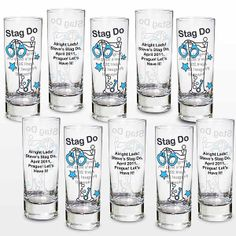 This funky 10 pack of shot glasses is a must for all stag do's! Personalise the shot glasses with any message up to 100 characters (including spaces).